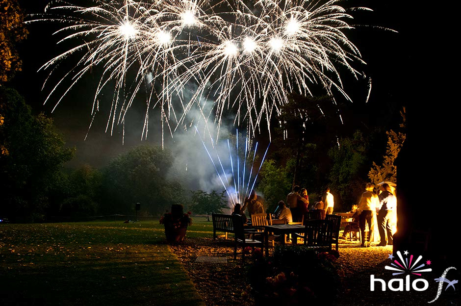 Helen and John Wedding fireworks at Bronsover Hall. Silver glitter stars with blue tails