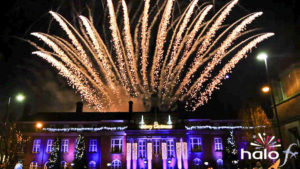 A big fan of glittering silver comet fireworks from the roof top of Nuneaton Town Hall for Christmas lights switch on. Fireworks choreographed to Frozen
