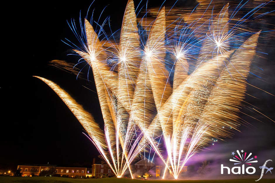 Pink, gold and blue fireworks at Whittlebury Hall