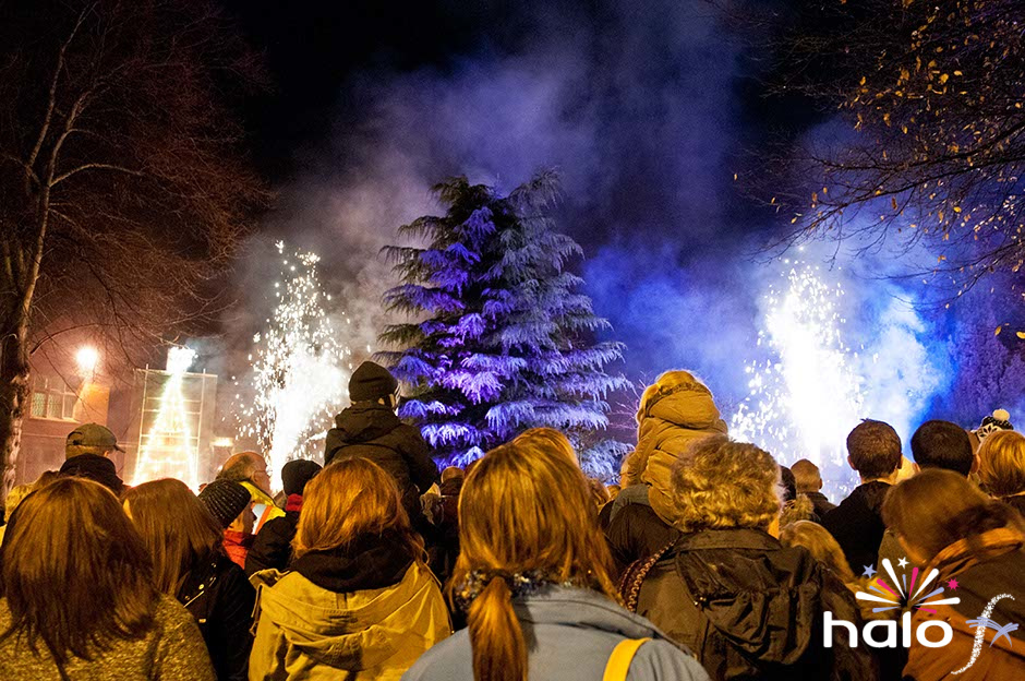 Christmas tree in firework lancework with silver fountains for the start of Bedworth Christmas Lights switch on