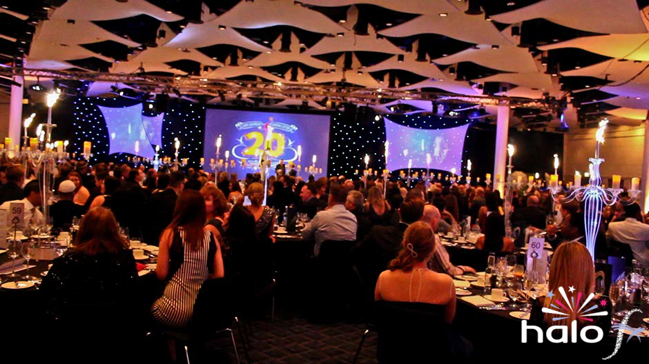 Over eighty table art tables centres with ice fountain pyrotechnics for Camelot's 20 years celebration at Wembley