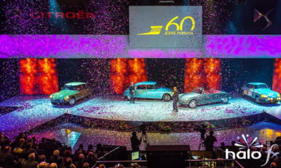 A large fall of pink and silver confetti and streamers at the Citroen dealers conference at the NIA Birmingham