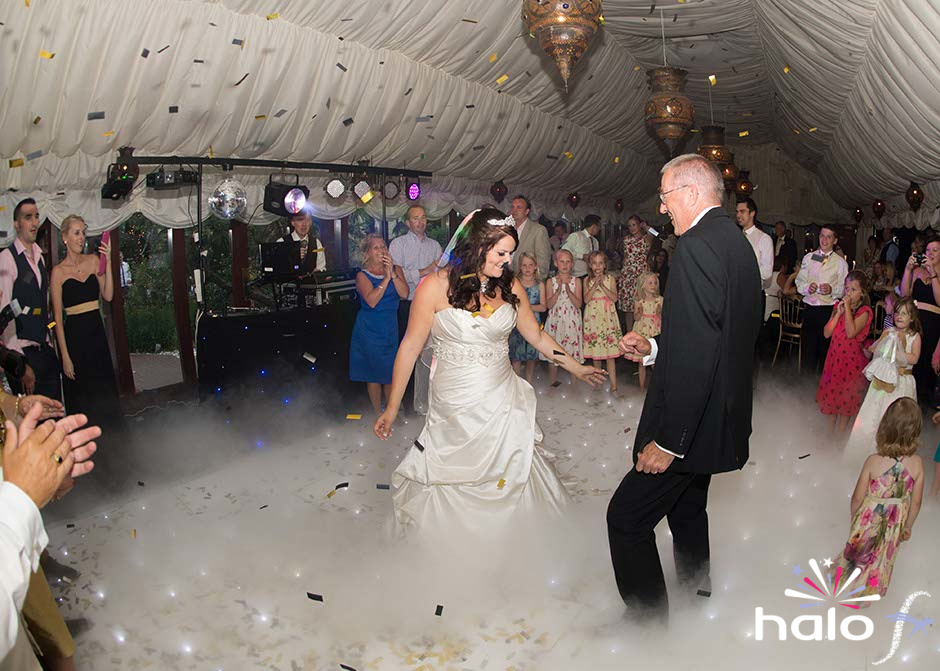 Dry ice across the dance floor for Emily and Sturat at their wedding at the Crazy Bear