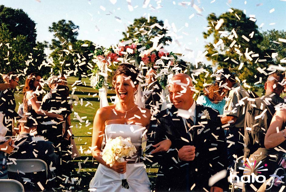 White confetti cannons for Jade and Simon
