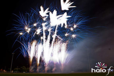 A large number of blue and white fireworks as the finale for Rob Meakin's scattering ashes fireworks display