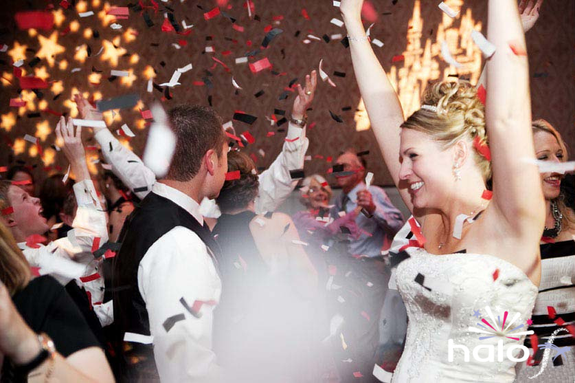 Red black and white confetti for Sally and Damian's wedding first dance