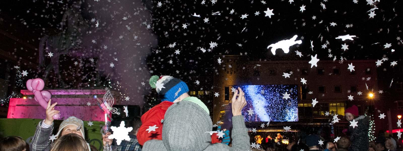 Slider Coventry Christmas Lights white snowflake confetti