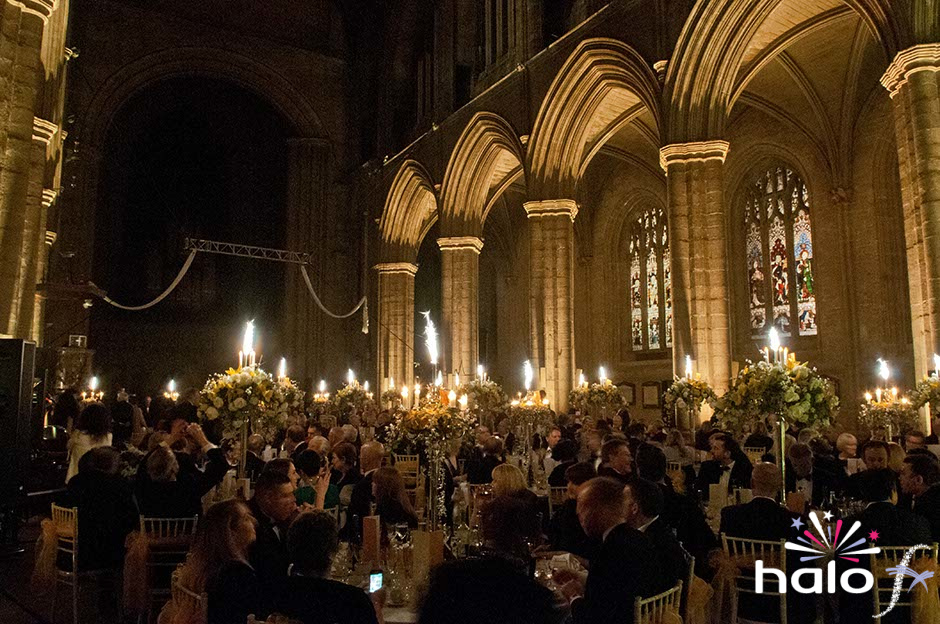Tour de France gala dinner Ripon Cathedral pyro table centres