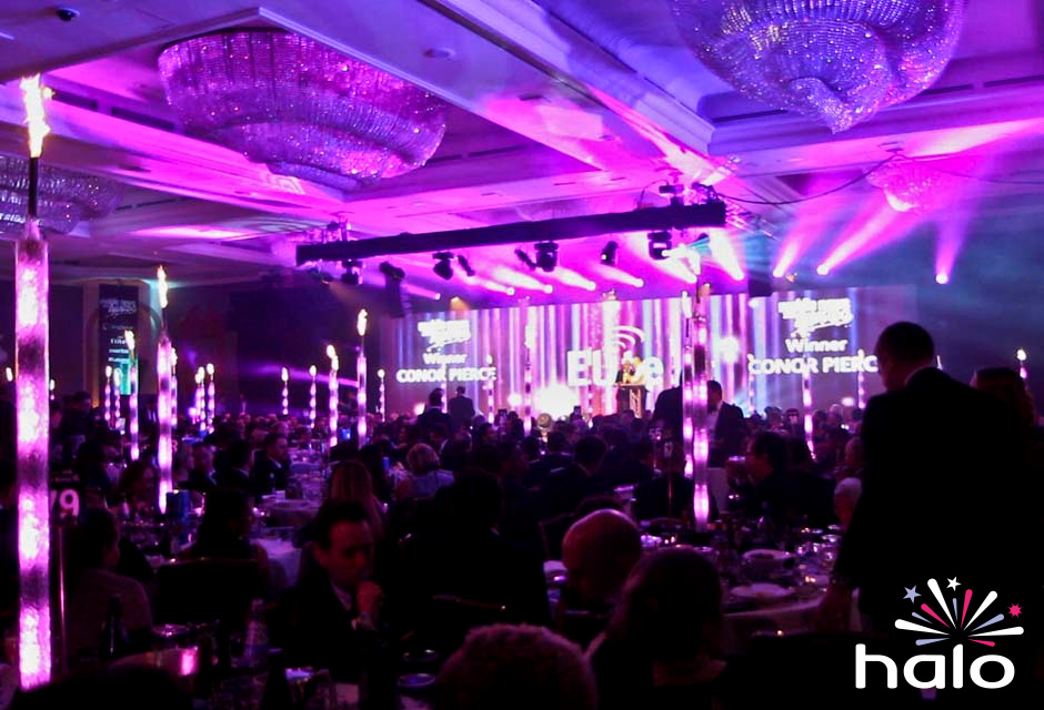Pyro Pixel Tube Table Centres at Mobile News Awards