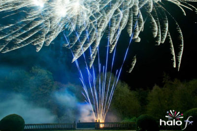 Fan of blue tail to silver dragon fireworks at the Parade Gardens Bath scattering ashes fireworks display