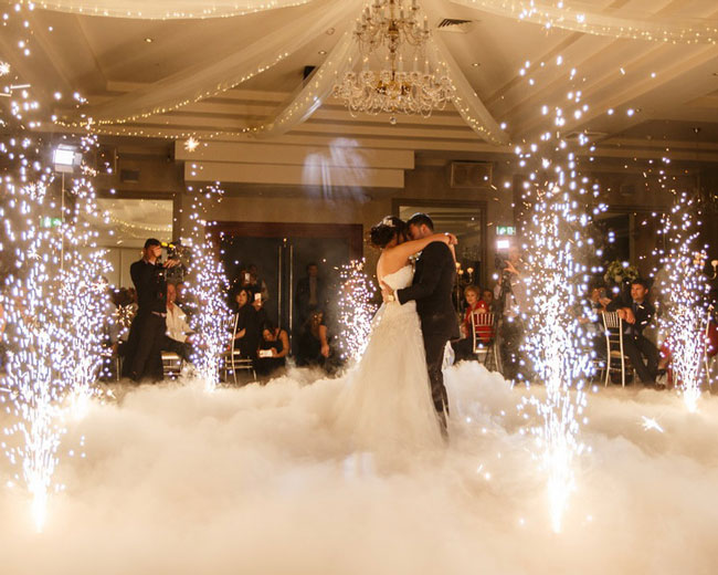 indoor wedding fireworks cold spark fountains